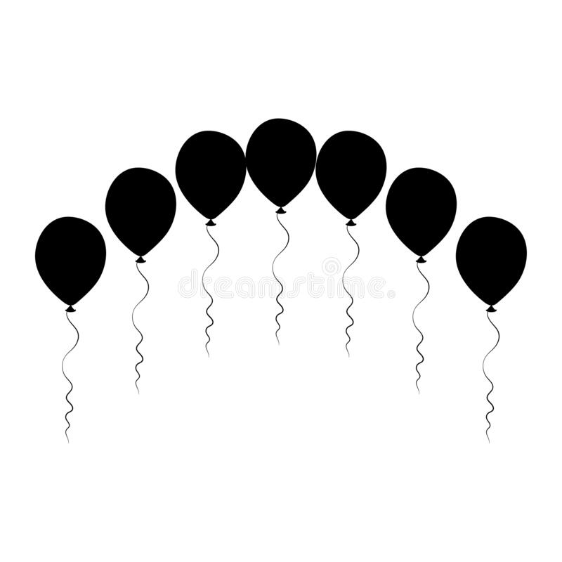 Silhouette balloons arch. Birthday baloons for party and celebrations. royalty free stock image