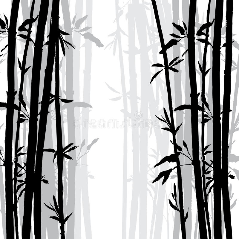 Silhouette of bamboo grove. Hand drawn vector illustration stock illustration