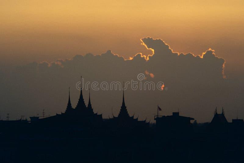 The night settles over Bangkok, Thailand. royalty free stock image