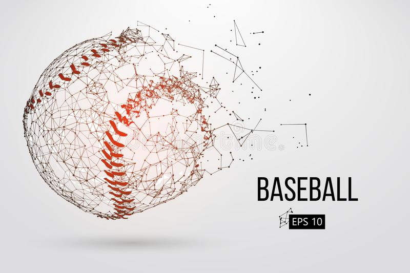 Silhouette of a baseball ball. Vector illustration. Silhouette of a baseball ball. Dots, lines, triangles, text, color effects and background on a separate vector illustration