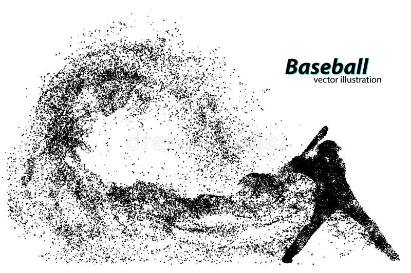 silhouette of a baseball player from particle. vector illustration