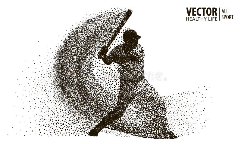 Silhouette of a baseball player from particle. Vector silhouette. stock illustration