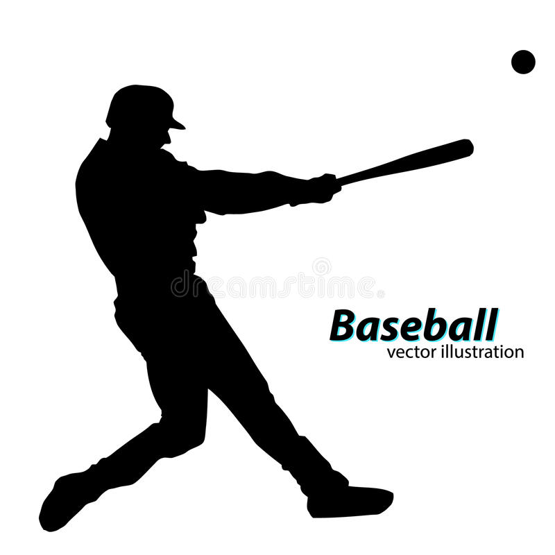silhouette of a baseball player stock illustration