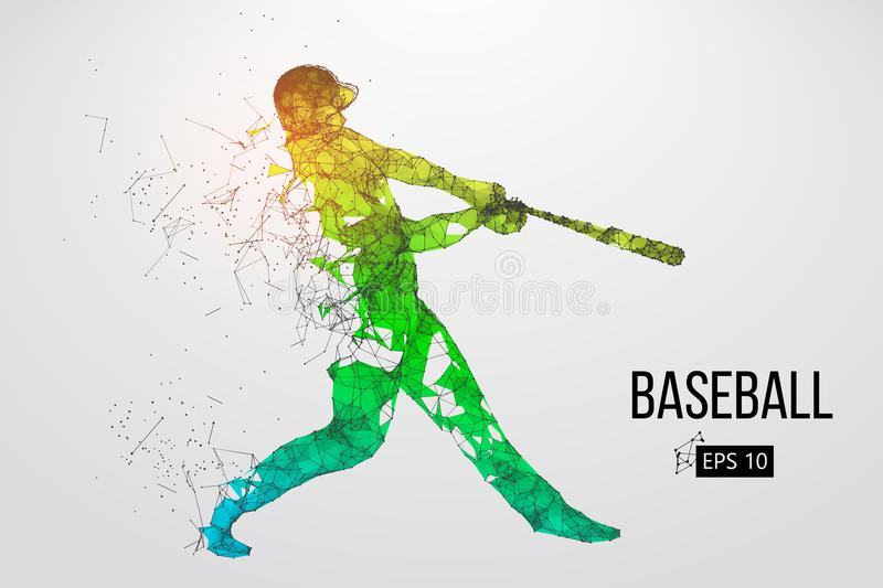 Silhouette of a baseball player. Vector illustration. Silhouette of a baseball player. Dots, lines, triangles, text, color effects and background on a separate