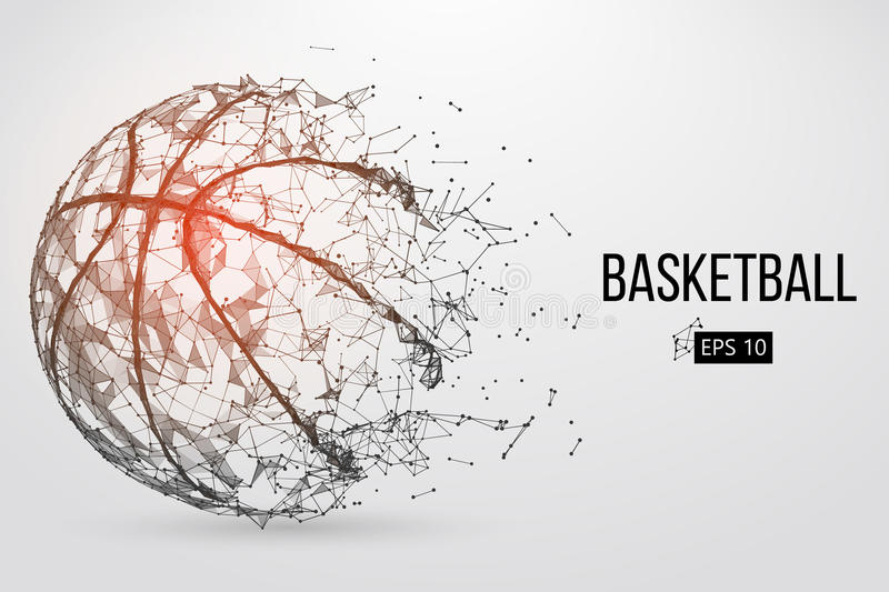 Silhouette of a basketball ball. Vector illustration. Silhouette of a basketball ball. Dots, lines, triangles, text, color effects and background on a separate