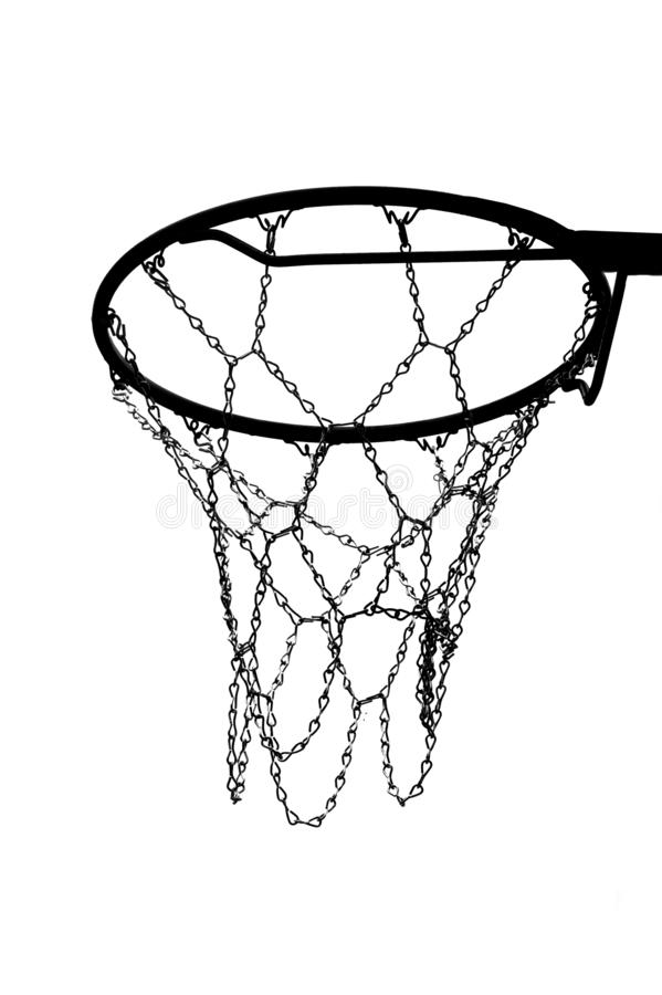 The silhouette of a basketball hoop chain. royalty free stock photo