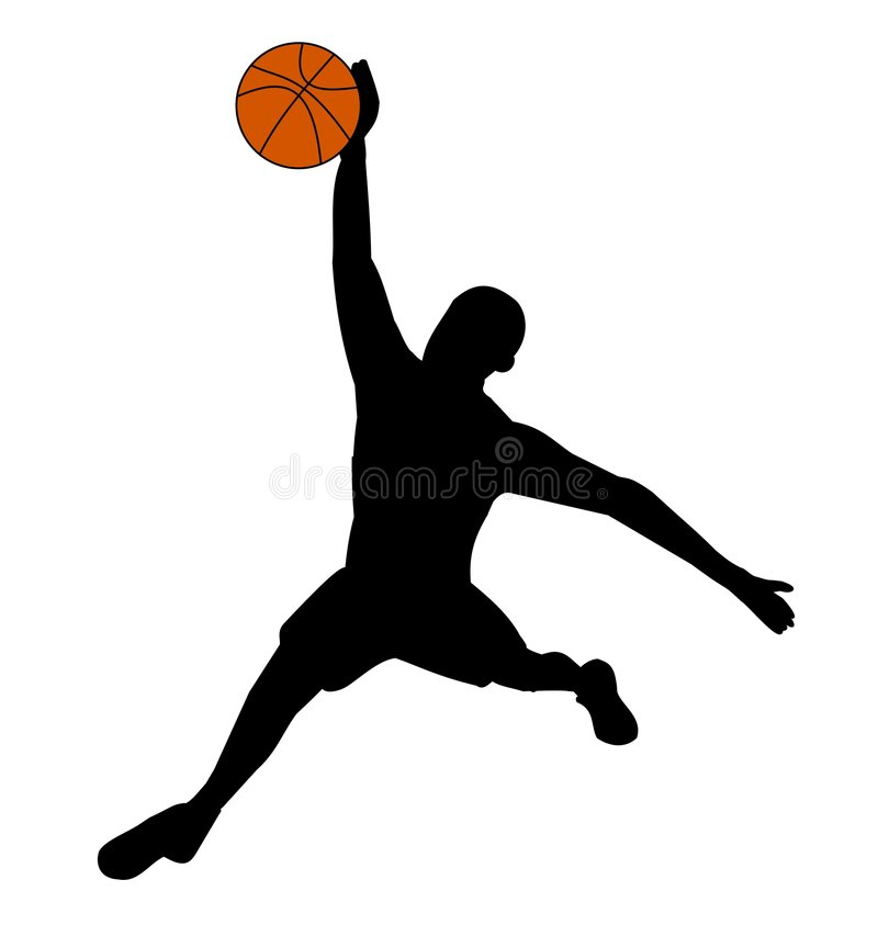 Silhouette of basketball player royalty free stock images
