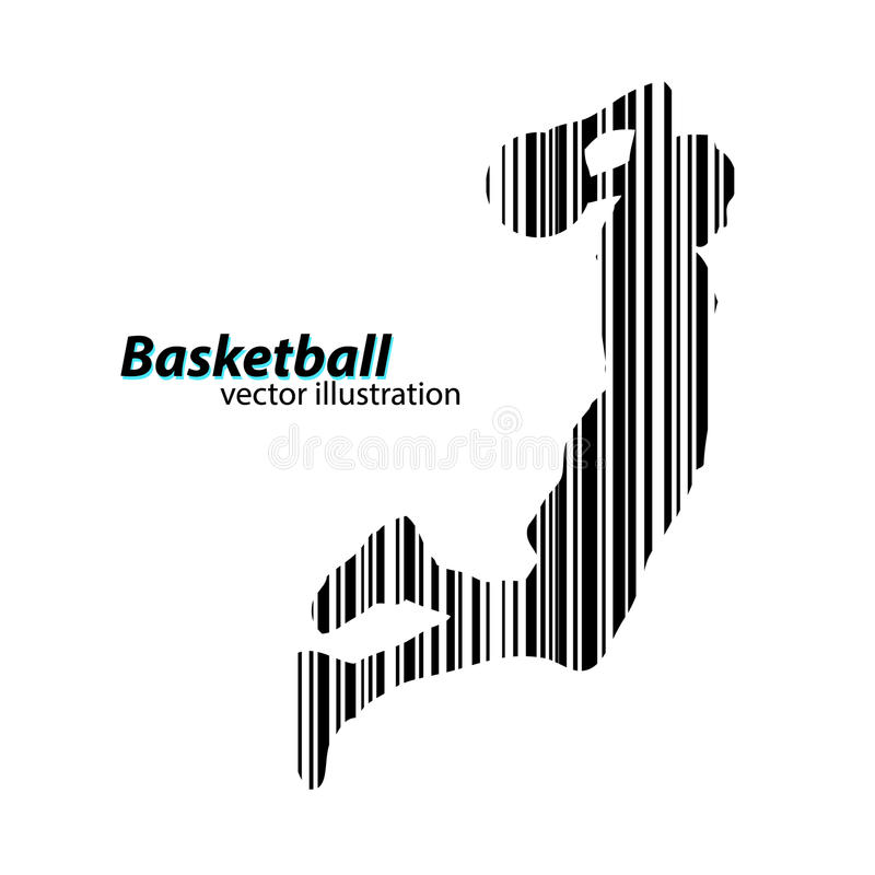 Silhouette of a basketball player and barcode. Silhouette of a basketball player. Background and text on a separate layer, color can be changed in one click vector illustration