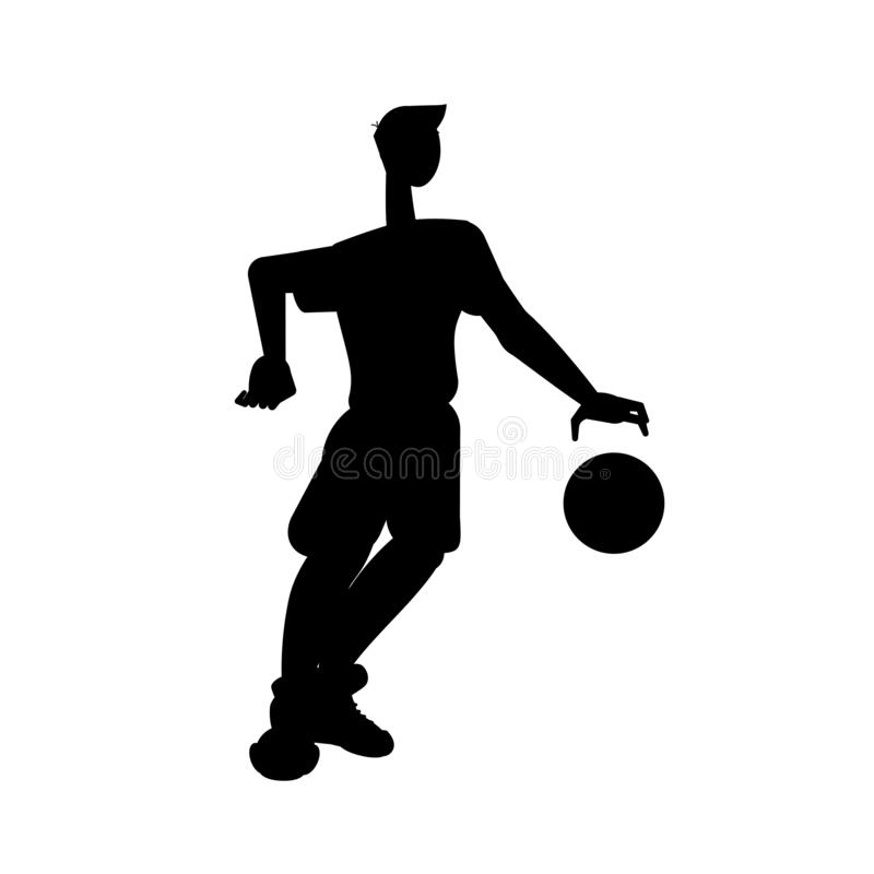Silhouette of basketball player isolated on white background. Vector black and white illustration. royalty free illustration