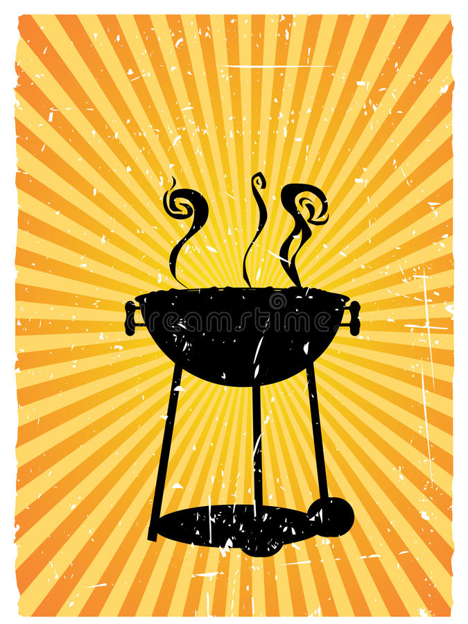 Silhouette bbq sunny rays accented grunge royalty free stock image