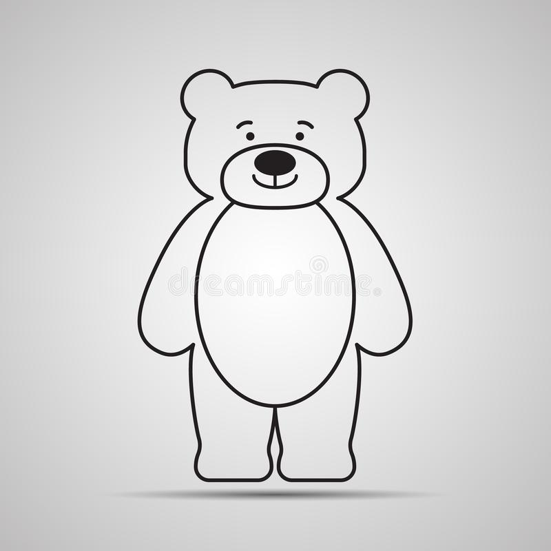 Silhouette Bear flat icon, simple vector design with shadow. Cartoon happy teddy-bear vector illustration
