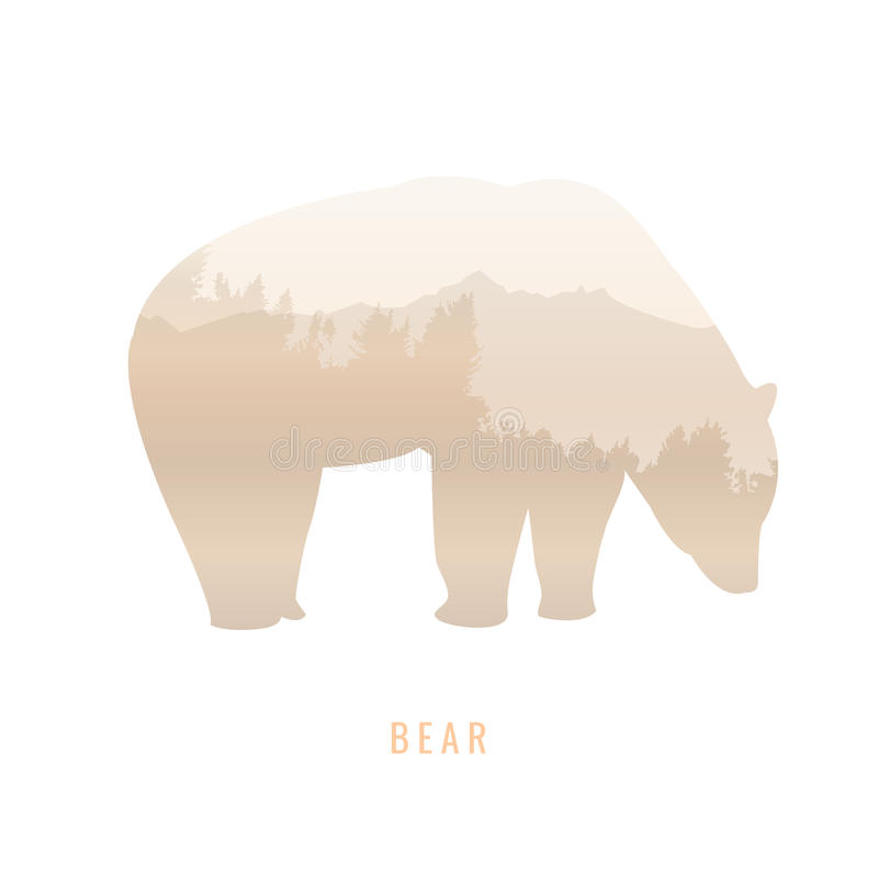 silhouette of a bear Inside the pine forest, bright colors /animal / park / vector illustration on white background. logo, symbol royalty free illustration