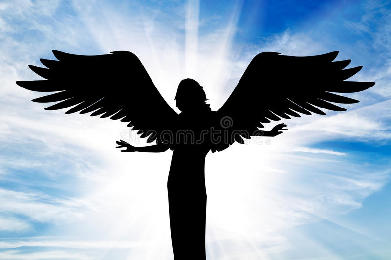 Download Silhouette Of A Beautiful Angel In Heaven Stock Image