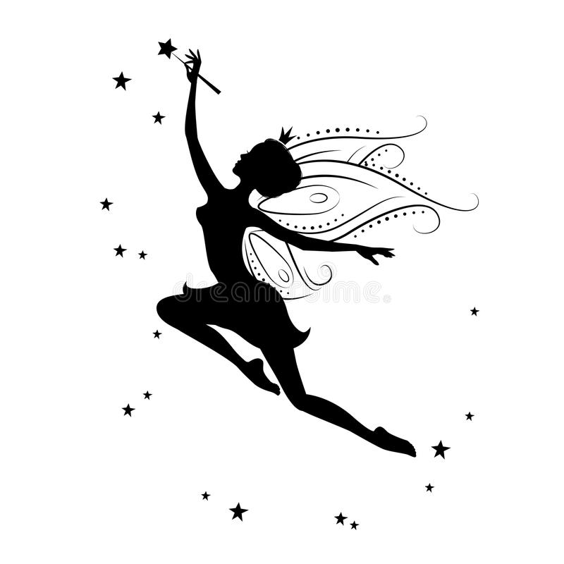 Silhouette of beautiful fairy. Template fairy for cut of laser or engraved. Stencil for paper, plastic, wood, laser cut acrylic. Decoration for windows, wall vector illustration