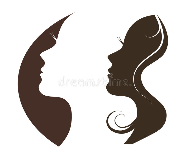 Silhouette of a beautiful girl stock illustration