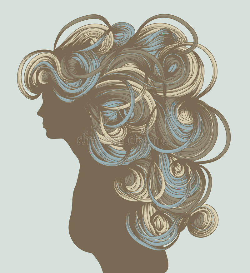 Silhouette of beautiful hand drawn woman stock illustration