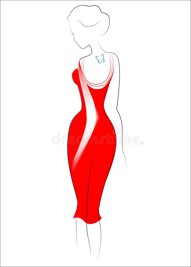 Silhouette of a beautiful lady. The girl is slim and feminine. Dressed in a red dress. On the back is a butterfly tattoo. Vector vector illustration