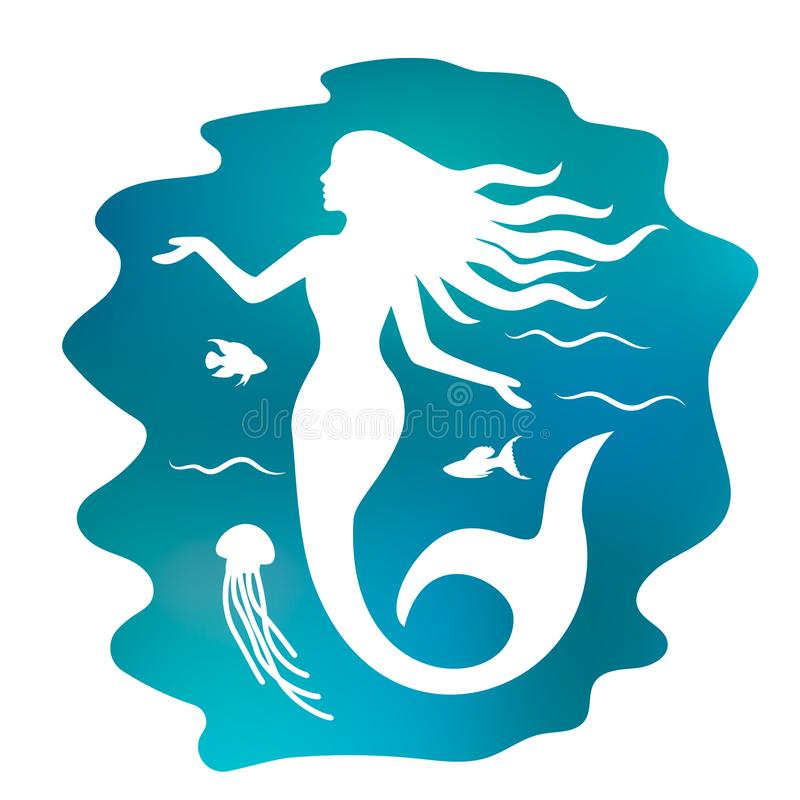 Silhouette of a beautiful mermaid with long hair under the water. flat vector illustration isolated royalty free illustration