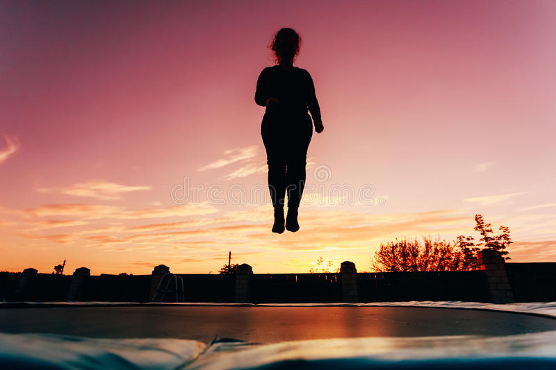 Silhouette Of Beautiful Plus Size Young Woman Girl royalty free stock photos