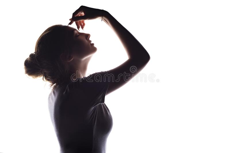 Silhouette of sensual girl, woman face profile on white isolated background. Silhouette of beautiful sensual girl, woman face profile on white isolated stock image
