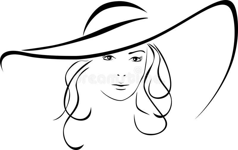 Silhouette of beautiful woman in a elegant hat stock illustration