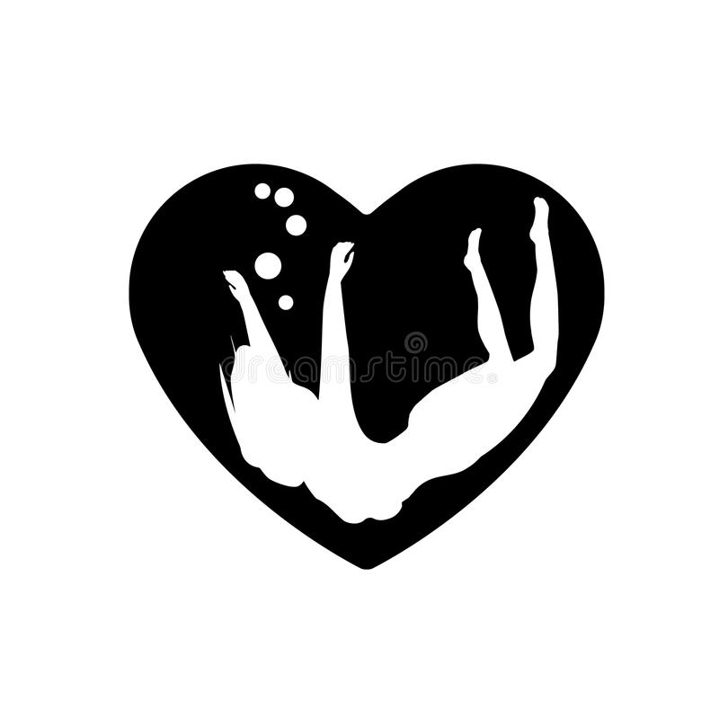 The silhouette beautiful woman, of girl floats in heart. Heart black icon, Love symbol. Valentines day sign, emblem, Flat style fo vector illustration