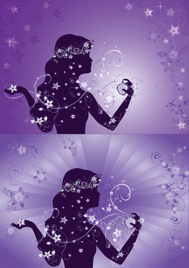Silhouette of beautiful woman using perfume stock image