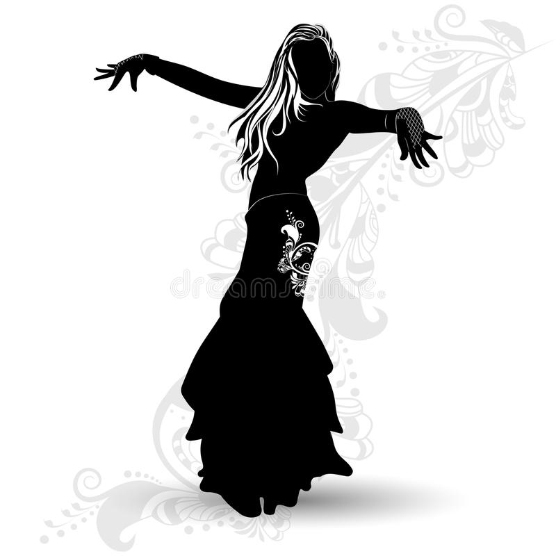 Silhouette belly dancer 1 stock illustration