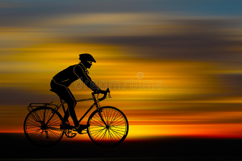 Silhouette of bicyclist royalty free illustration