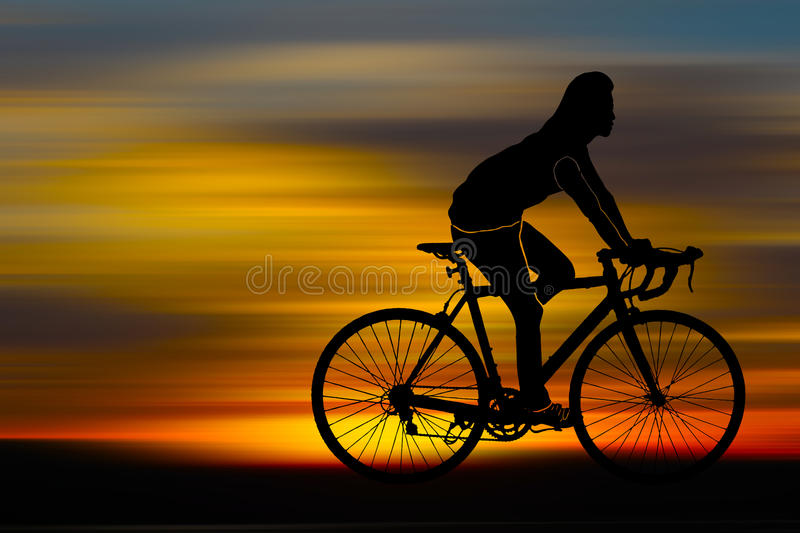 Silhouette of bicyclist stock illustration