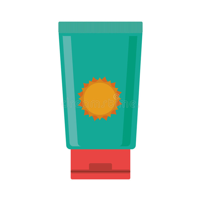 Silhouette with big bottle green of sunscreen. Vector illustration vector illustration