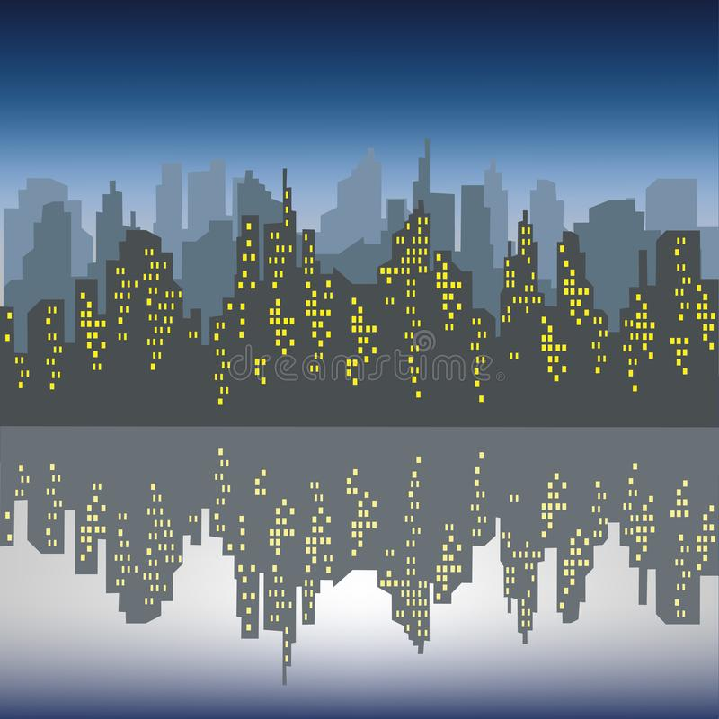 Silhouette of a big city against a background of a dark blue sky. The windows in the houses are lit. The city is reflected in the royalty free illustration