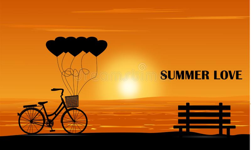 The silhouette of the bike and bench on the beach at sunset On the day of love during the summer vector illustration