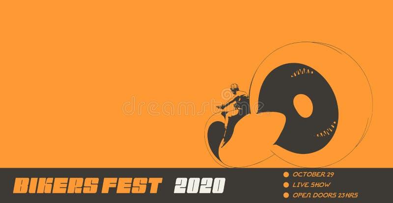 Silhouette biker with his motorbike. Sexy girl ride a motorbike. Biker party poster design. Woman on a futuristic bike. Biker festival invitation card concept stock illustration