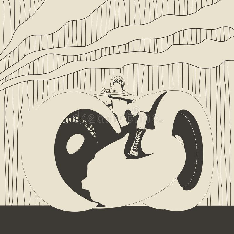 Silhouette biker with his motorbike stock illustration