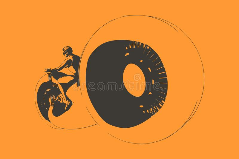 Silhouette biker with his motorbike. Sexy girl ride a motorbike. Biker party poster design. Woman on a futuristic bike. Sci fi concept vector illustration