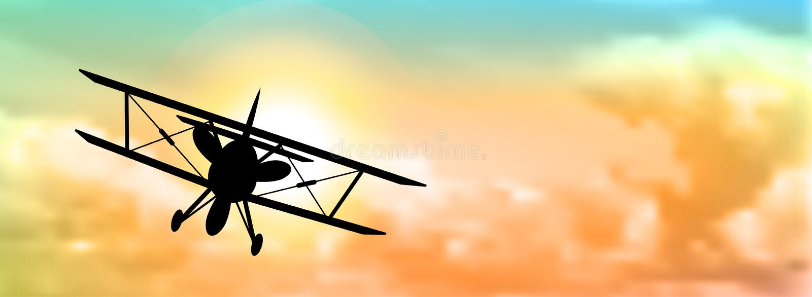 Silhouette of biplane with clouds stock illustration