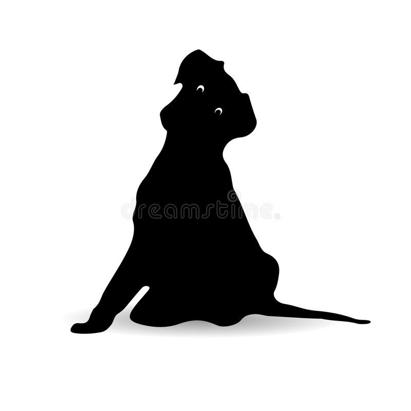 Silhouette of a black dog sitting surprised, Cartoon stock illustration