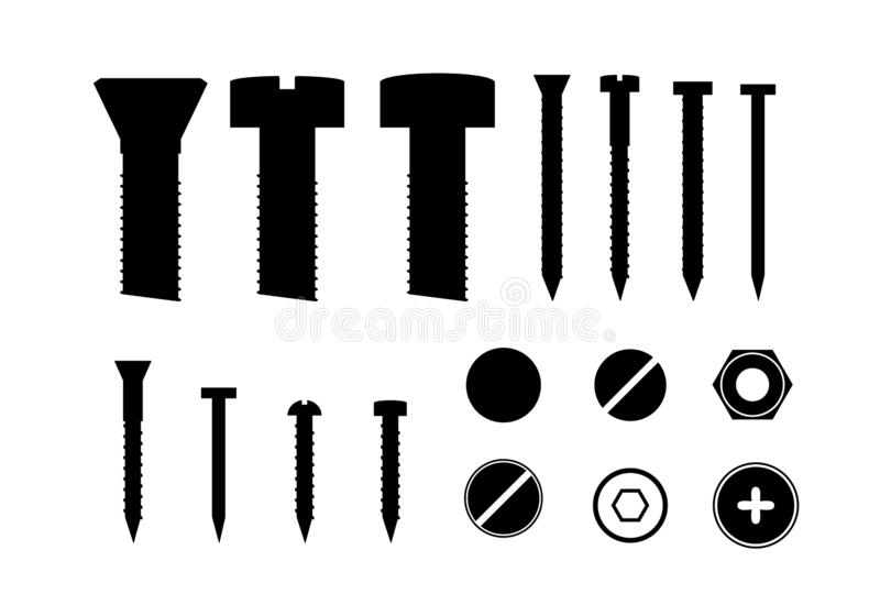 Silhouette Black Metal Screws and Bolts Set. Vector. Silhouette Black Metal Screws and Bolts Set Elements of Construction Industry. Vector illustration of Bolt vector illustration