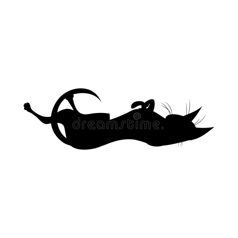 Silhouette of black playful witch cat. vector illustration