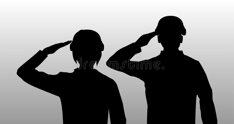 Silhouette black salute men and women soldier stock illustration