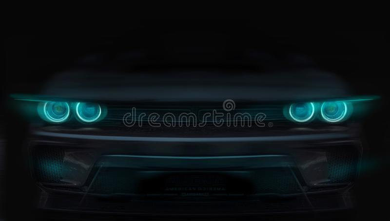 Silhouette of black sports car with headlights on black background royalty free stock photos