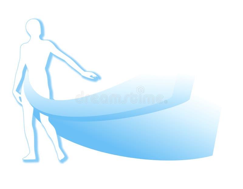 Silhouette blanche bleue avec Swoosh illustration de vecteur