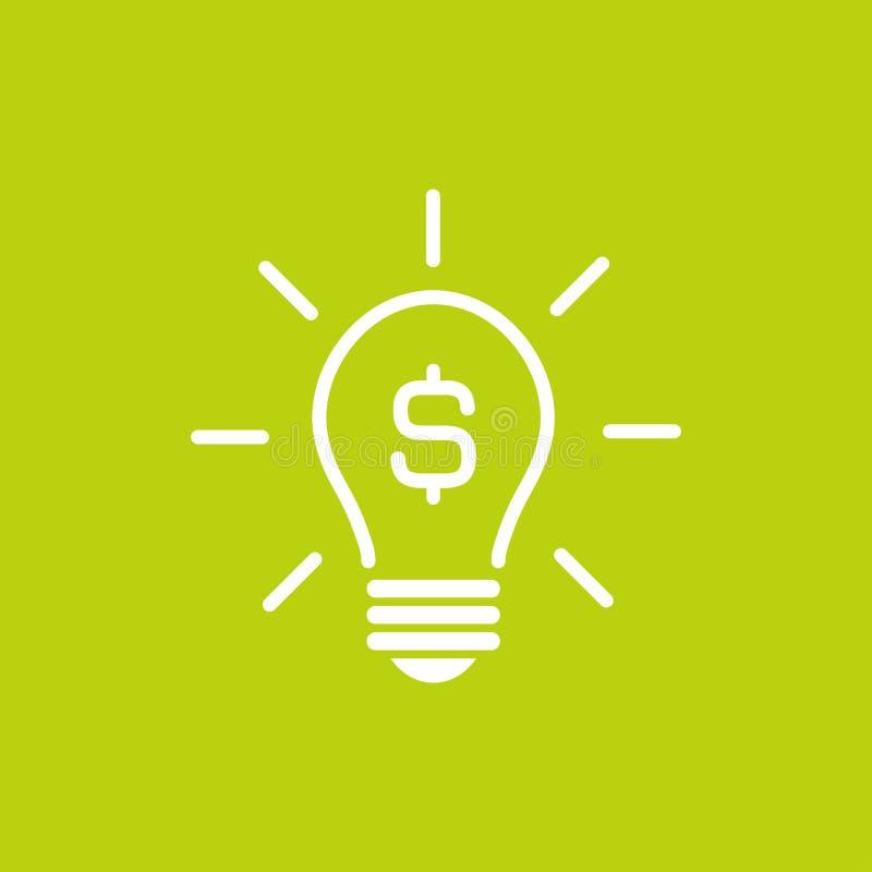 Silhouette blanche d'ampoule avec les rayons et le symbole dollar Icône plate Sur le fond vert Affaires nouvelles illustration libre de droits