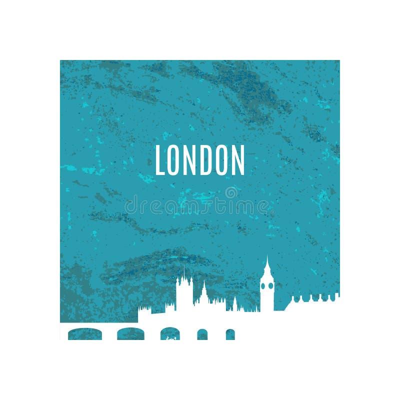 Silhouette blanche d'horizon de ville de Londres sur le fond bleu de texture Illustration de vecteur illustration de vecteur