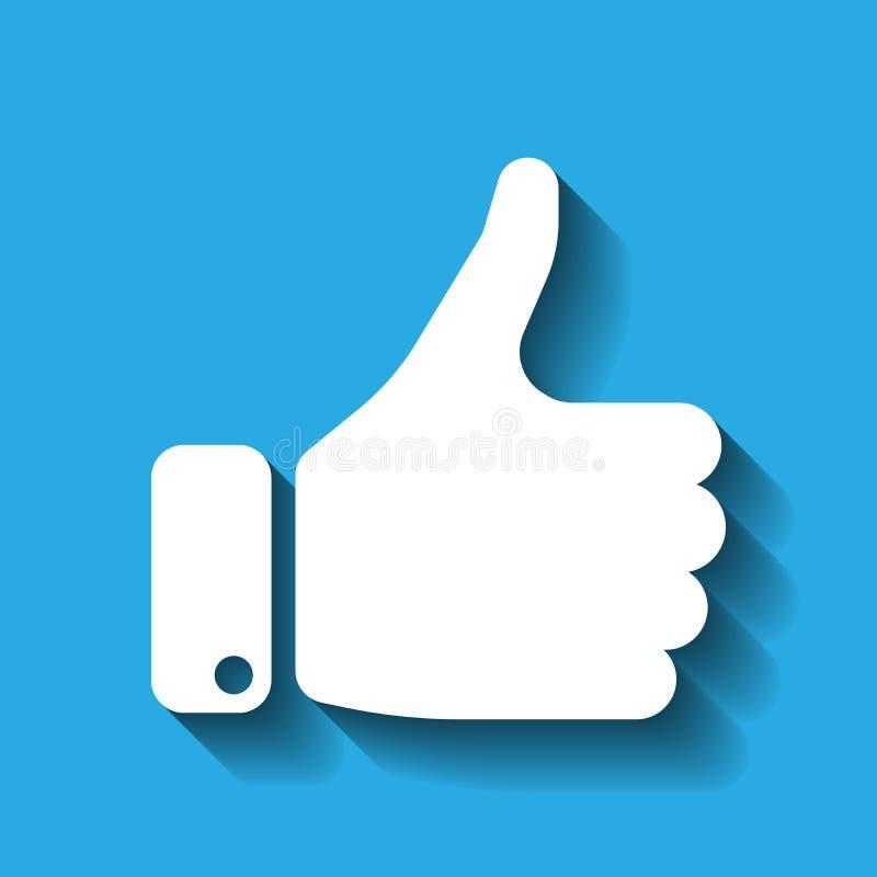 Silhouette blanche de main avec le pouce sur le fond bleu illustration stock