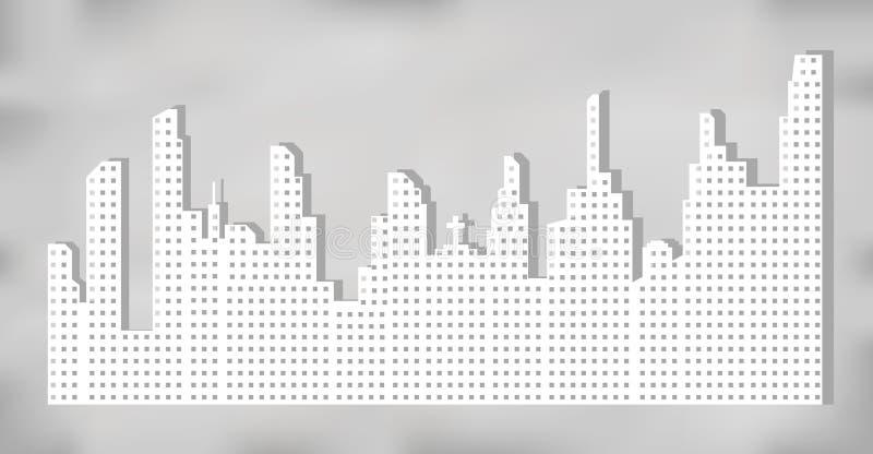 Silhouette blanche de paysage de ville avec les gratte-ciel et les tours, ombre sur le fond gris Illustration de vecteur illustration de vecteur