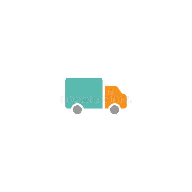 Silhouette bleue d'ensemble de camion de livraison icône de expédition de vecteur d'isolement dessus illustration de vecteur