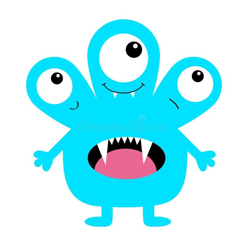 Silhouette bleue de monstre Trois yeux, langue de dent de croc, mains Caractère drôle effrayant de kawaii mignon de bande dessiné illustration de vecteur