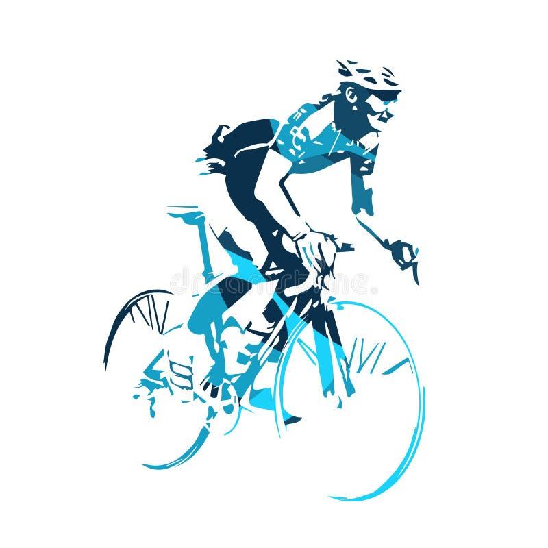 Silhouette bleue de vecteur d'abrégé sur cycliste de route illustration stock
